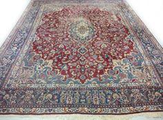 Perzisch Kashan Tapijt Vintage Sleets 293 x 395 cm Blauw Rood
