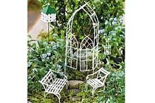 Jeremie Willow Miniature Fairy Garden Starter Set for sale online Mini Fairy Garden, Dream Garden, Fairy Gardening, Willow Garden, Diy Jardim, Create A Fairy, Fairy Furniture, Iron Furniture, Furniture Sets