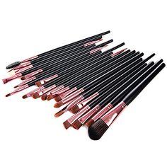 Lychee 20Pcs Pinceaux de Maquillage Professionnels Brosses Cosmétiques pour Fond de Teint Poudre Fard à paupières Eyeliner Lèvres Kit…
