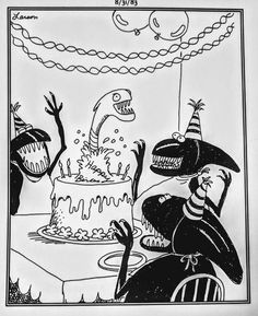 """""""The Far Side"""" by Gary Larson. Alien Birthday parties are more than just a screaming affair. Far Side Cartoons, Far Side Comics, Funny Cartoons, Happy Birthday Me, Birthday Wishes, Birthday Memes, Birthday Fun, Birthday Greetings, Birthday Cards"""