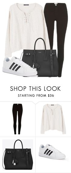 """Outfit #1681"" by lauraandrade98 on Polyvore featuring River Island, MANGO, Yves Saint Laurent and adidas"