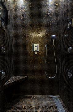 douche totalement mosaïque hexagone noire...chez ramacieri soligo ... - Salle De Bain Mosaique Noire