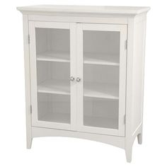 Two-shelf floor cabinet with glass doors.Product:   Cabinet    Construction:     MDF and glass Color:     W...