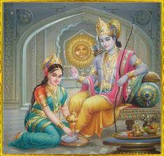 Sita wash her husband Ram feet
