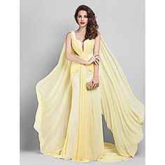 TS+Couture®+Formal+Evening+/+Company+Party+Dress+-+Elegant+Plus+Size+/+Petite+Sheath+/+Column+V-neck+Court+Train+Georgette+with+Side+Draping++–+AUD+$+142.99