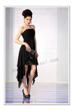 Black strapless chiffon knee-length prom dress(82635)