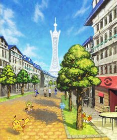 "Lumiose City with its ""iconic tower"" based on Eiffel Tower. #pokemonXY"