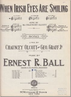 Vintage Irish Themed Sheet Music.