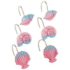 Add some style to your bathroom with Disney Little Mermaid Shower Curtain Hooks These are based on the popular Disney princess Ariel the Little Mermaid. Mermaid Shower Curtain, Shower Curtain Hooks, Bathroom Shower Curtains, Fabric Shower Curtains, Bath Shower, Little Mermaid Bathroom, Disney Bathroom, Mermaid Bathroom Decor, Mermaid Room