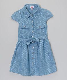Dollhouse Light Blue Polka Dot Denim Dress