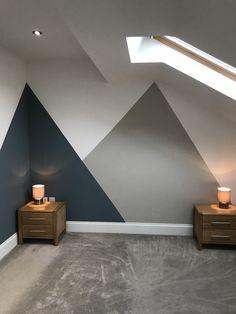 #boysbedroom #teenageroom #triangles #denimdrift #egyptiancotton #dulux #teenagebedroom #blue #grey #bedroom Boys Bedroom Paint, Boys Bedroom Decor, Men Bedroom, Cool Bedrooms For Boys, Blue Gray Bedroom, Bedroom Wall Designs, Teenage Room, Single Bedroom, New Room