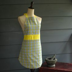 Reversible Women's Full Apron Modern Yellow and Teal Radiating Circles $38