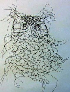 Owl Spirit Wire Sculpture Wall Art by Famous Wire Sculptor Elizabeth Berrien