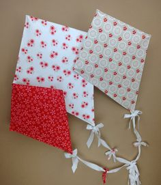 Fabric Wall Kite Set Home Decor Blooming Red by OMySoulStudio