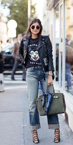 ♥️ Pinterest: DEBORAHPRAHA ♥️ leather jacket - street style