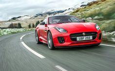 Lataa kuva Jaguar F-Tyyppi, 2018 autoja, tie, punainen F-Tyyppi, superautot, Jaguar