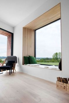 Hands down, my favourite window seat of all time. The green cushions bring the view into the house with the perfectly framed window seat. Modern Interior Design, Interior Architecture, Interior Ideas, Luxury Interior, Design Interiors, Windows Architecture, Contemporary Interior, Contemporary Windows, Modern Interior Doors