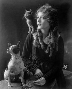 Mary Pickford, son chien et son chat. Vintage Pictures, Old Pictures, Old Photos, Vintage Witch Photos, Potnia Theron, Creepy Photos, Mary Pickford, Photocollage, Kitty Cats