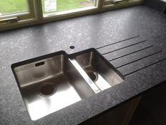 """Today's fit in leathered steel grey granite. Kitchen Tops, Kitchen Redo, Kitchen Appliances, Kitchen Ideas, Leather Granite, Grey Leather, Grey Granite Countertops, Gray Granite, Grace Kitchen"