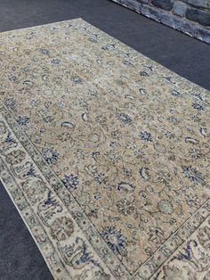5x9 foot Turkish area rug, 6x9 Faded rug, Oushak vintage natural rug, Distressed rug, Ethnic rug, Living room rug, Saloon rug, 5.49'x8.77' Carpets, Rugs On Carpet, Natural Rug, Rugs In Living Room, Handmade Rugs, Rug Runner, I Shop, Bohemian Rug, Area Rugs