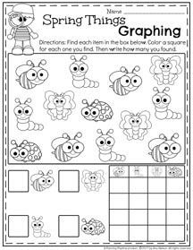 Preschool Graphing Worksheets for Spring #springworksheets #preschool #preschoolworksheets #planningplaytime