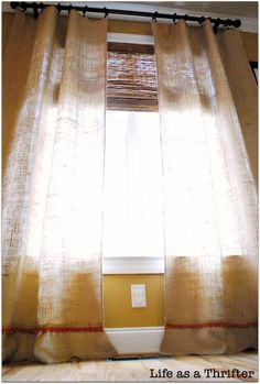 Easiest Curtains Ever Made by Life as a Thrifter {I love the trim!)