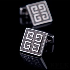 The square shape and unique Greek key design on these stylish cufflinks set them apart from your everyday cufflinks. The square shape is a nice change from a ty Fashion 2017, Mens Fashion, Free Ecommerce, Bracelets For Men, My Images, Cufflinks, Pattern, Accessories, Moda Masculina