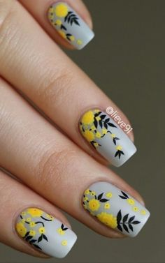 Easy Flowers Nail Art Designs – 100 pictures - Nail Design Ideas, Gallery of Best Nail Designs Nail Design Spring, Spring Nail Art, Spring Nails, Nail Summer, Fall Nails, Yellow Nail Art, Floral Nail Art, Nail Designs Floral, Yellow Nails Design