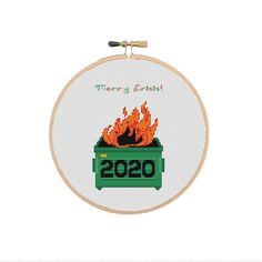 Merry Crisis 2020 Dumpster Fire Cross stitch pattern PDF | Etsy Funny Cross Stitch Patterns, Dumpster Fire, Christmas Cross, Craft Supplies, Merry, Pdf, Handmade Gifts, Crafts, Kid Craft Gifts