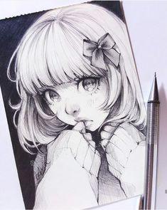 dessin, manga, fille, noeud, timide