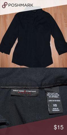 Button Up Shirt New York & Company black button up shirt. In great condition! New York & Company Tops Button Down Shirts