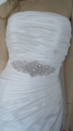 Crystal bridal sash belt beaded wedding by Diamondweddingveil, $79.00