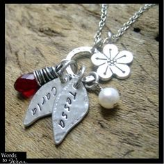 Personalized Petals Rustic Silver Charm Necklace