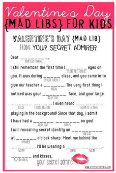 cute mad libs for kids for valentines day
