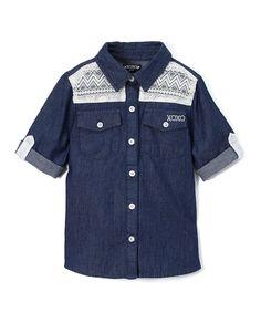 Dark Blue Chambray Lace-Yoke Button-Up Top - Toddler & Girls