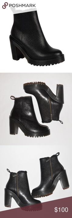 """Dr. Martens Magdalena FL Ankle Bootie 6M Black NWT This is a pair of Dr. Martens Magdalena FL Ankle Zip Boot • Size: US 6M UK 4 • Color: Black • New With Tags • MSRP $175 • Stone leather upper is made of a high-shine full grain leather with a pebble texture • Classic back heel loop • Side zip closure • Soft faux fur lining • Thick high heel • Cement construction • Durable air-cushioned outsole •  Approx Measurements: Heel Height: 4"""". Shaft: 6 1⁄2"""". Platform Height: 1"""" • Dr. Martens Shoes…"""