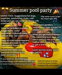 Summer Fun List, Summer Pool Party, Summer Kids, Girl Life Hacks, Girls Life, Things To Do Tonight, Hoe Tips, Baddie Tips, Girl Tips