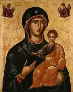 "The Mother of God, ""Hodegetria"" Byzantine Icons, Byzantine Art, Blessed Mother Mary, Blessed Virgin Mary, Trieste, Religious Icons, Religious Art, Orthodox Prayers, Russian Icons"