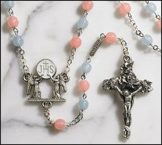 Ghirelli First Holy Communion Rosary with Pink and Blue Prayer Beads