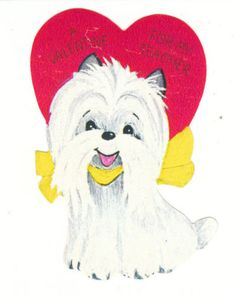 "Vintage Valentine - Maltese Dog ""A Valentine for Teacher"""