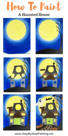 How To Paint A Haunted House - Step By Step Painting dibujos paso a paso How To Paint A Haunted House - Step By Step Painting Autumn Painting, Autumn Art, Painting For Kids, Diy Painting, Art For Kids, Painting Canvas Crafts, Beginner Painting, Painting Tutorials, Halloween Canvas Paintings