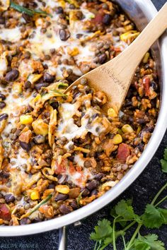 One Pot Cheesy Mexican Lentils with Black Beans and Rice