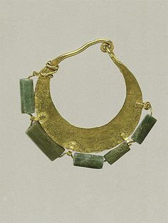 Gold and variscite earring (one of a pair) Period: Mid-Imperial Date: 2nd century A.D. Culture: Roman, Cypriot