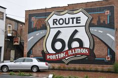 Panoramio - Photo of Route 66 mural on the back wall of the Route 66 Hall of Fame, Pontiac, Illinois.