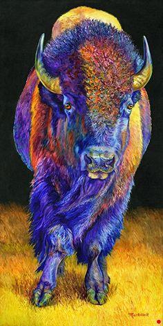 Dark Side of Thunder by Sharon Markwardt Oil ~ 48 x 24 Wildlife Paintings, Wildlife Art, Animal Paintings, Animal Drawings, Native American Pictures, Native American Artwork, American Indian Art, Buffalo Animal, Buffalo Art