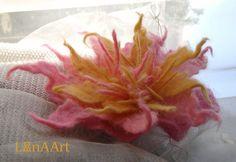 Love Bright Star flower brooch from fine felted merino by LanAArt