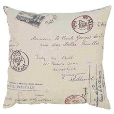 Dress your settee or sofa in rustic French style with this carte postale pillow.   Product: PillowConstruction Material:...