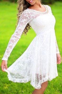Romantic White Beaded Scoop Neck High Waist Ruffled Lace Dress For Women