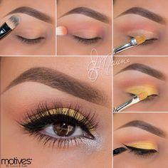 Gold dress makeup doll