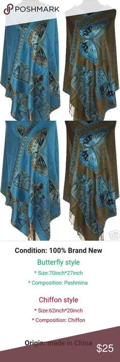 Gorgeous Butterfly Pashmina Scarf Shawl This is a beautiful blue butterfly Pashmina Scarf shawl. Colors may vary slightly to picture. Vintage Accessories Scarves & Wraps